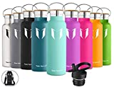 Super Sparrow Stainless Steel Vacuum Insulated Water Bottle - Double Wall Design - Standard Mouth - 500ml - Non-Toxic BPA Free - Ideal as Sports Bottle - 2 Lids (Mint)
