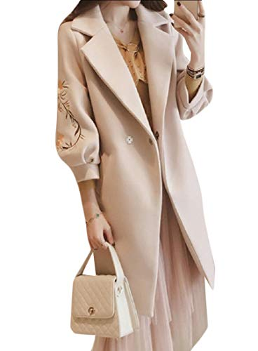 Belted Print Trench Coat (CuteRose Women Fall Winter Turn Down Collar Fit Belted Mid-Long Outwear Apricot S)