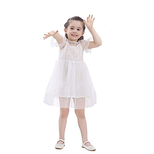 JUTOO Kinder Infant Kid Girls Solid Dot Net Garn lässig Princess Dress Clothes ()
