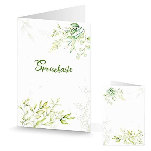Menù segnaposto bianco verde – segnaposto da tavolo Gastronomie pieghevole Menu – Matrimonio Comunione Compleanno Decorazione da tavolo Segnaposto Verde Chiaro Fiore Naturale 10 pezzi