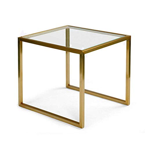 YueQiSong Schmiedeeisen-Couchtisch aus Gehärtetem Glas Nordische Möbel Kreativer Runder Transparenter Tisch Moderner Minimalistischer Beistelltisch -