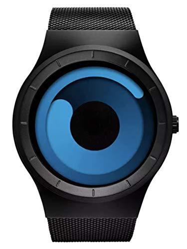 Attractionz Swift Movement Blue Spinner Dial Black Shepard Metal Belt Mens & Boys Watch - Blue Spin