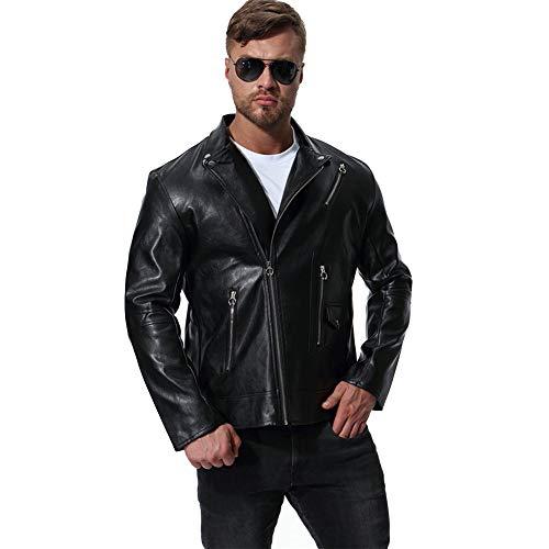 MISSMAOM Chaqueta de Cuero para Hombre Moto o Motocicleta Biker Moto Abrigo Negro 3XL