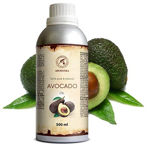 Avocado Öl 500ml - Kaltgepresst & Raffiniert Persea Gratissima Oil - Südafrika - 100% Reines - Avocadoöl - Pflege für Gesicht - Körper - Haare - Massage - Körperpflege Öl Avocado