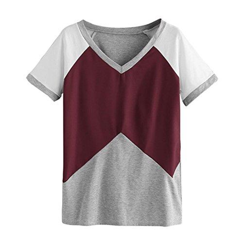 Farblich Passendes Kurzarmhemd T-Shirt Kurzarm-T-Shirt mit Rosenprint Frauen Fashion Casual Kurzarm Geometrische Farbe T Bluse Top (S, Wein) (Zitate über Halloween Und Familie)