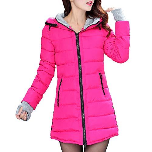Honestyi Frauen Langarm Oberbekleidung mit Handschuhen Cotton Padded Jacken Pocket Hooded Coat(Rosa,XXXXL)
