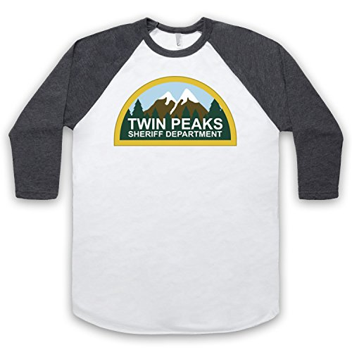 Inspiriert durch Twin Peaks Sheriff Department Unofficial 3/4 Hulse Retro Baseball T-Shirt, Weis & Dunkelgrau, XL (Sheriff Baseball)