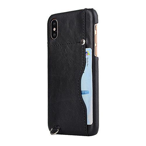iPhone X Coque,Valenth [Slot pour carte] Protective Shockproof Back Coque Etui pour iPhone X Black