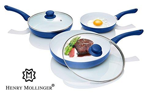 Original Henry Mollinger Keramik Pfannen Set 5-tlg. Induktionsgeeignet blau