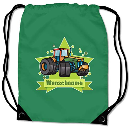 Samunshi® Turnbeutel mit Traktor und Name für Jungen und Mädchen personalisierbar personalisiert mit Namen Sportbeutel für Schule Sport Sporttasche grün (Rosa Traktor Für Mädchen)
