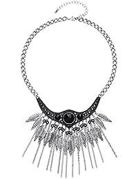 Front Row collar mujer color de plata antiqua con cristales negras y borla múltiple - Longitud 46-48cm