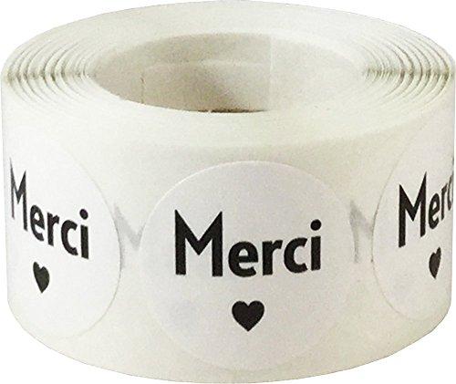 Blanco Circulo con Negro Merci Pegatinas, 25 mm 1 Pulgada Redondo, 500 Etiquetas en un Rollo