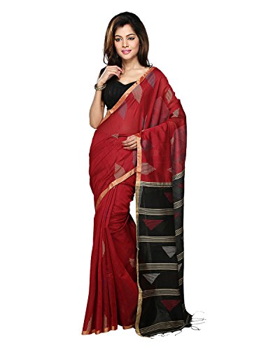 Bengal Handloom Saree Women's Art Silk With Blouse Piece (Hts25_Red)