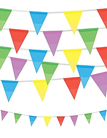 VALUE TWIN PACK Multi Colour Pennant Bunting Indoor/Outdoor Party Decoration Banner Total 22 Flags 26