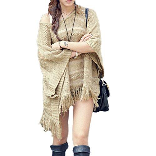 Maglia Maglione Poncho Donna JLTPH Pullover Manica Lunga Scollo Invernale Cappotti e Mantella con Frange Incavato con Cappuccio color1