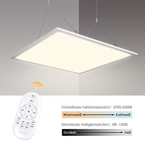 Albrillo LED Panel 62x62cm - 40W Dimmbar und Farbtemperatur Einstellbar (2700-6500K) LED Deckenleuchte, Büroleuchte Inkl. Einstellbare Seilaufhängung, Montage Klemme, Fernbedienung und LED Trafo 360 Panel