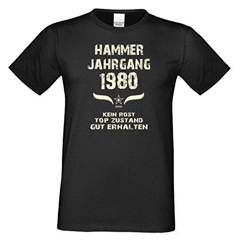 Geschenk zum 37. Geburtstag Hammer Jahrgang 1980 T-Shirt Tolle Geschenkidee als Geburtstagsgeschenk für Herren auch in Übergrößen Farbe: schwarz Schwarz