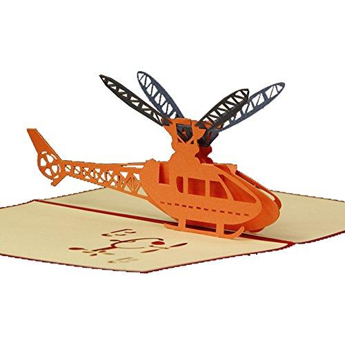 Handgefertigt 3D Laser Cut Pop Up krigami Grußkarten Hubschrauber Design Versandkostenfrei
