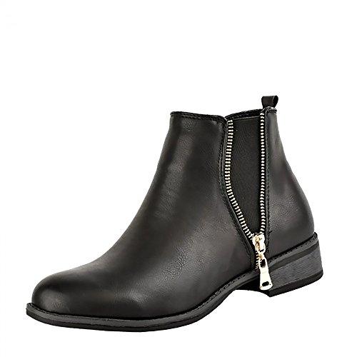 Kick Footwear Womens Ladies Appartamento Di Nuova Ankle Boots, Tirare  Casual Tacco Basso Scarpe Donna