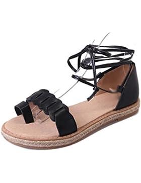 Verano ronda de tacón bajo del dedo del pie zapatos de moda conjuntos correas cruzadas de las sandalias romanas...