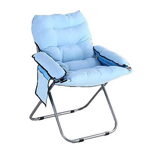 MICEROSHE Essstühle Lounge Chair Faltiges Faules Zuhause Balkon Mittagspause Nickerchen Büro Studentenwohnheim Lounge Tragfähigkeit 100Kg (Farbe : Blau, Größe : 58 * 58 * 86cm)