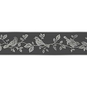 Fine Decor Glitz Glitter Sparkle Birds Leaf Tree Black Silver Wallpaper Border from Fine Decor