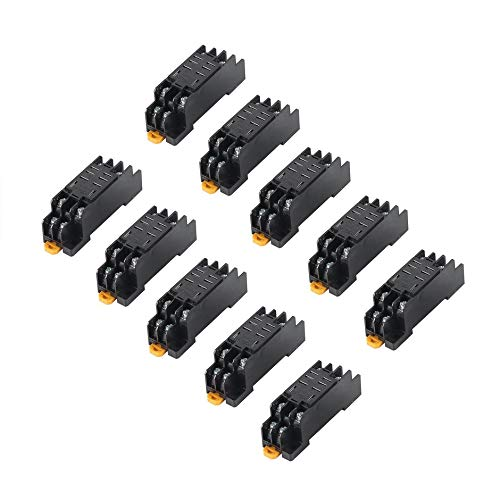 WEINANA DC 24V 10PCS Coil Power Relay LY2NJ DPDT 8 Pin PTF08A JQX-13F Socket Base Electronic Micro Mini Electromagnetic Module Switch -