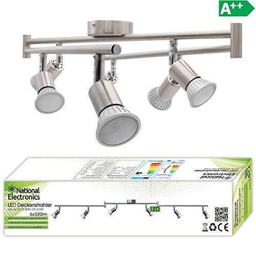 National Electronics Deckenstrahler 6-Flammig   GU10 3.5W 320 Lumen SMD LED   Deckenlampe AC 230V 120° Deckenleuchte warmweiß