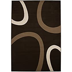 Alfombra Moderna, diseño con Texto Juterück, Color marrón, café, (Varias medidas) 190 x 280 cm