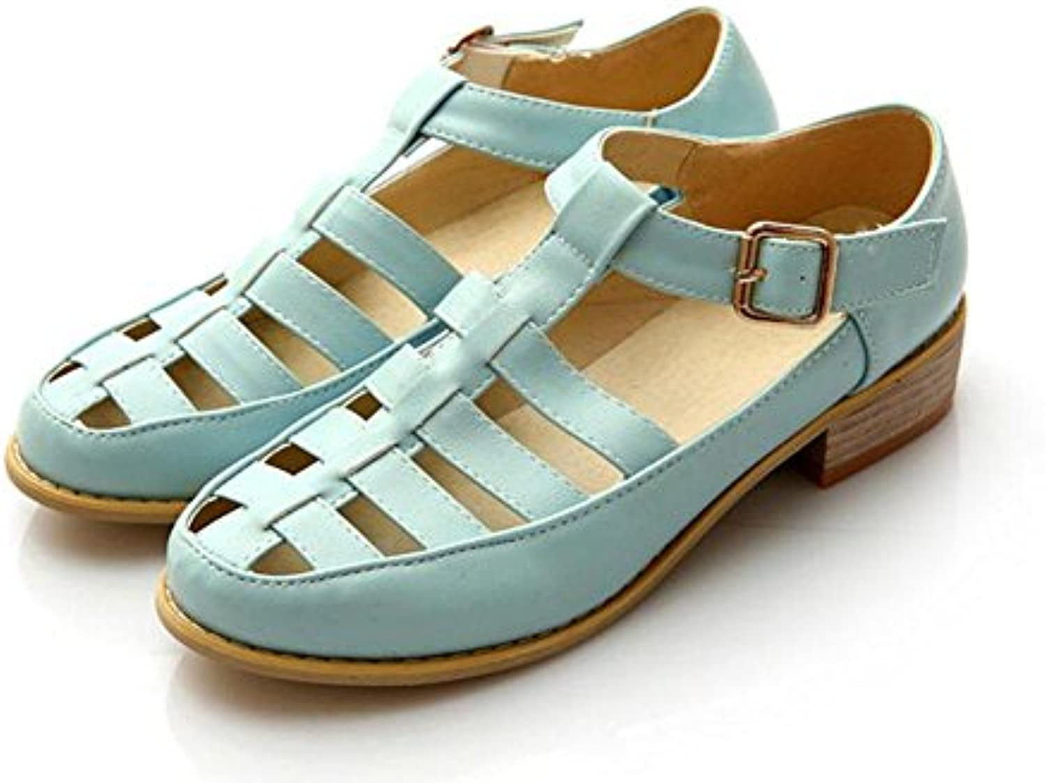 9bb71a859936 GLTER Woman Pumps Retro Roman Sandals Court Court Court Shoes Blue White  Pink B06Y6BG545 Parent 11a4b6