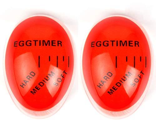 2er Pack Egg Timer, Bidear Farbe Wechsel Wärmeempfindliche Eieruhr für Küche Kochen (Orange)