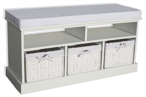 KMH®, Sitzbank Jytte im Rattan-Look mit 3 Körben aus weissem Geflecht (#204601)
