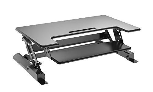 Best verstellbar Stehpult Riser-Gas Spring Konverter sich oder lassen, 81,3cm schwarz 2-stufig Desktop, Dual Computer Monitore Platz W/Tastatur Tray CAS-LD02-36