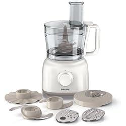 Philips HR7627/02 Küchenmaschine (650 Watt, inkl. Knethaken, 2 Geschwindigkeiten) weiß Blitzhacker für Nüsse