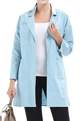 Les Femmes Veste Patchwork Poches Cardigan Trenchcoat Vêtements Maxi blue