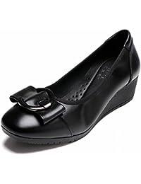 TYERY Cuero Negro Medio-Envejecido Shallow Boca Cómoda Hembra con Grueso con Zapatos de Trabajo Profesional único...