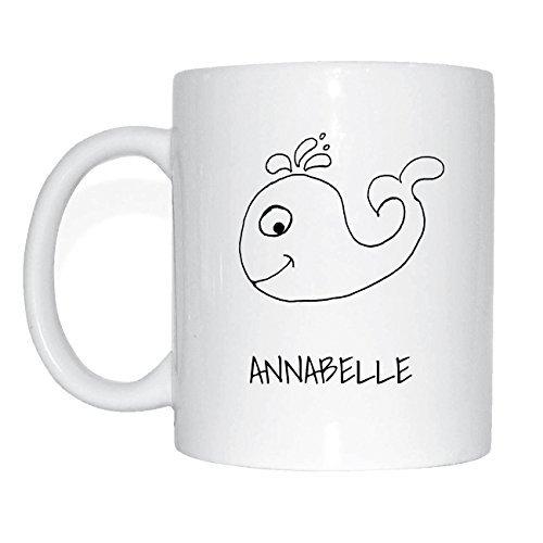 JOllipets ANNABELLE Namen Geschenk Kaffeetasse Tasse Becher Mug PM5143 - Farbe: weiss - Design: Wal Annabelle Cup