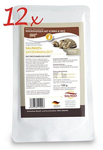 SALiNGO Katzenfutter nass, Rinderherzen mit Kürbis und Reis (12x100g) (Katze Fleisch)