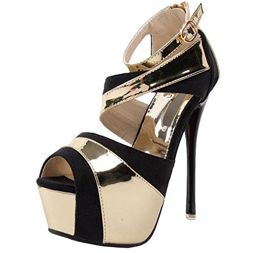 Oasap Women's Peep Toe Stiletto Heels Platform Pumps white