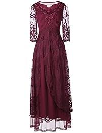 Belle Poque reg;Vestido Victoriano Lace Maxi 3/4 Manga Gótico Color Vino Encajes