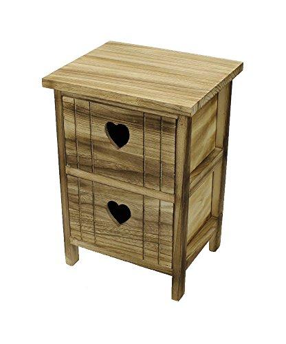 Holz Regal mit Herz Griffen natur / braun (2 Schubladen)