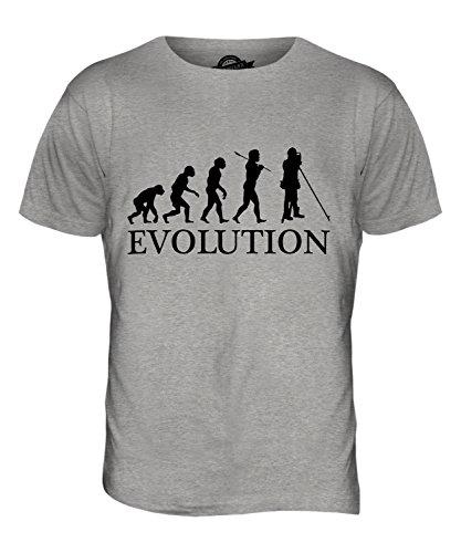CandyMix Landvermesser Vermessung Evolution Des Menschen Herren T Shirt Grau Meliert