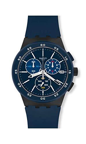 Swatch Unisex Erwachsene Chronograph Quarz Uhr mit Silikon Armband SUSB417 (Uhr Chrono Swatch)
