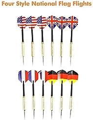 Xcellent Global Juego de 12 Dardos con Aletas de Bandera Nacional (4 estilos), 18 Gramos, Punta de Acero Inoxidable, Mango Recubierto de Cobre y Varilla de PVC TY004