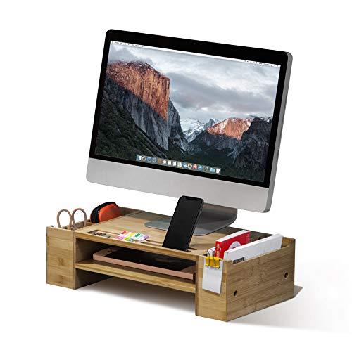 MK436A Monitorständer aus Bambus mit Schreibtisch-Organizer (2 Ebenen) 2 Tier bambus (Computer Keyboard Und Mount)