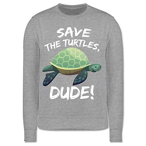Shirtracer Tiermotive Kind - Save The Turtles, Dude! - 9-11 Jahre (140) - Grau meliert - JH030K - Kinder Pullover