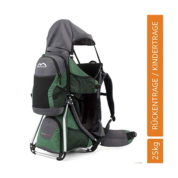 Montis HOOVER NEXUS, Child Hiking Backpack Carrier, suitable for babies & toddlers with a stable seat, low weight suitable, many extras, premium quality (GREEN) M MONTIS OUTDOOR ✅ SAFE - Practical baby carrier backpack completely adjustable with wide 5-point child harness for children weighing up to 25 kg instead of 20 kg. Thanks to height-adjustable seat cushions, padded side panels, a rear headrest, and forehead cushions, it is ideal for hiking in the city or in the country. With reflective elements on the front and back for night protection. ✅ COMFORTABLE - Suitable for both parents thanks to adjustable shoulder straps, a 14 cm adjustable chest strap with a vertical position for women's ergonomics, and reinforced back area (incl. ventilation system) with load distribution to the pelvic belts. We use materials of the highest quality and focus on flawless manufacturing. ✅ SPACIOUS - Removable additional backpack 10L and seat pocket with 18L volume provide the carrier with additional storage space for water bottles, rain protection, sun protection, changing mat and much more. In addition, the straps of the baby carrier are equipped with small quick-access pockets to avoid the need of constantly taking off the carrier. 1