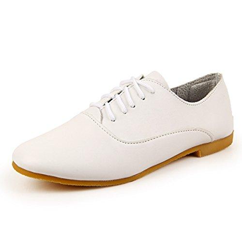 Senhoras Ata Acima Brogues Clássico Confortável Leve E Respirável Lazer Plana Sapatos Baixos Branco
