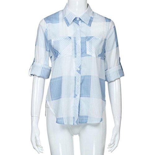 Vovotrade Chemise à Carreaux Blouse Casual Top d'été T-shirt Manches Longue Réglable Bleu