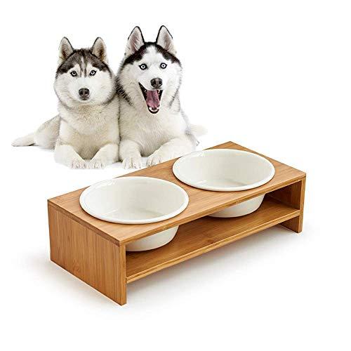 L&XY Erhöhte Hund Und Katze Pet Feeder, Double Bowl Raised Stand Kommt Mit Extra Zwei Keramik Schalen, Ideal Für Mittlere Und Große Hunde Und Katzen -